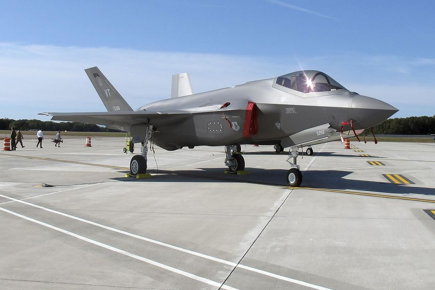 FILE - In this Sept. 19, 2019 file photo, the an F-35 fighter jet arrives at the Vermont Air National Guard base in South Burlington, Vt. Republicans who control the Wisconsin Senate are preparing to vote on a resolution supporting new F-35 fighter jets at an Air National Guard base in Madison, Wis. Truax Field is one of five locations under consideration for housing two squadrons of F-35s, but there is vocal opposition among some in Madison who fear an increase in noise the jets will bring. (AP Photo/Wilson Ring, File)