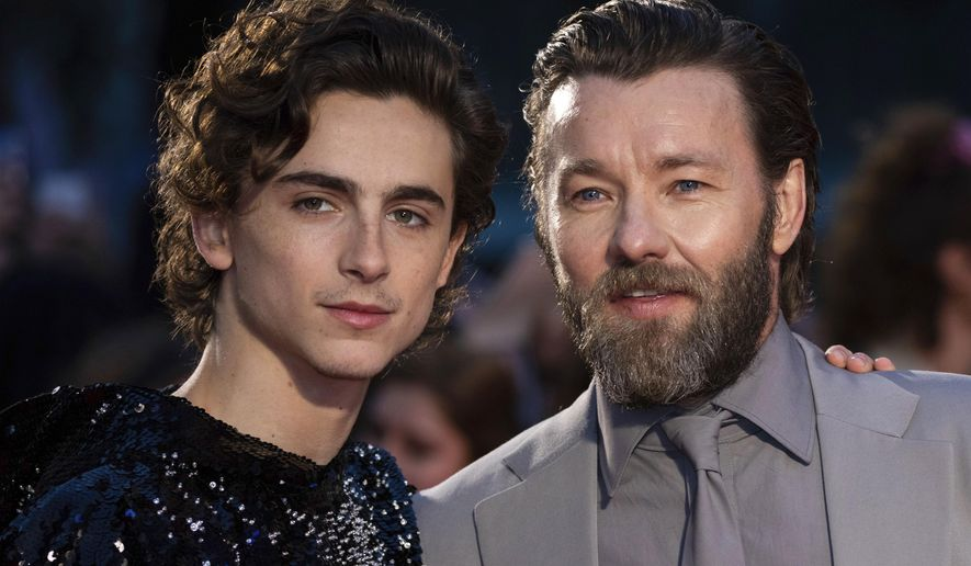 "FILE - This Oct. 3, 2019 file photo shows Timothee Chalamet, left, and Joel Edgerton at the premiere of the ""The King"" during the London Film Festival, in central London. Chalamet portrays King Henry V in the period drama in theaters this week. (Photo by Vianney Le Caer/Invision/AP, File)"