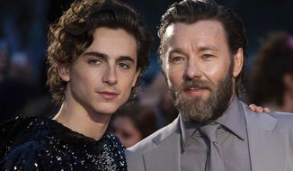 """FILE - This Oct. 3, 2019 file photo shows Timothee Chalamet, left, and Joel Edgerton at the premiere of the """"The King"""" during the London Film Festival, in central London. Chalamet portrays King Henry V in the period drama in theaters this week. (Photo by Vianney Le Caer/Invision/AP, File)"""