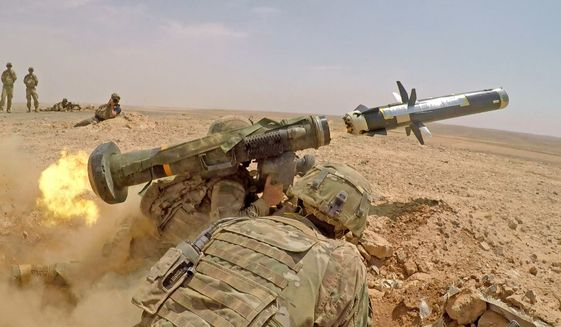 Infantry soldiers with 1st Battalion, 8th Infantry Regiment, 3rd Armored Brigade Combat Team, 4th Infantry Division, fire an FGM-148 Javelin during a combined arms live fire exercise in Jordan on Aug. 27, 2019, in support of Eager Lion. Eager Lion, U.S. Central Command's largest and most complex exercise, is an opportunity to integrate forces in a multilateral environment, operate in realistic terrain and strengthen military-to-military relationships. (U.S. Army photo by Sgt. Liane Hatch)