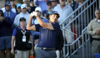Phil Mickelson watches his shot on the 10th tee during the Shriners Hospitals for Children Open golf tournament at TPC Summerlin in Las Vegas, Thursday, Oct. 3, 2019. (K.M. Cannon/Las Vegas Review-Journal) **FILE**