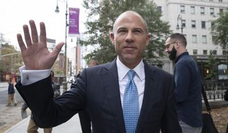 Attorney Michael Avenatti leaves Manhattan Federal court, Tuesday, Oct. 8, 2019, in New York. (AP Photo/Mary Altaffer) ** FILE **
