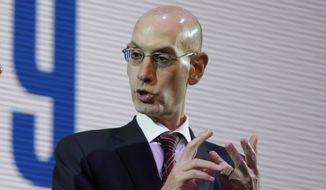 NBA Commissioner Adam Silver speaks during a welcome reception for the NBA Japan Games 2019 between the Toronto Raptors and the Houston Rockets in Tokyo, Japan, Monday, Oct. 7, 2019. (AP Photo/Kiichiro Sato)