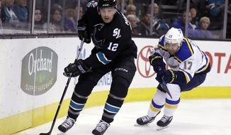 FILE - In this March 16, 2017, file photo, San Jose Sharks' Patrick Marleau (12) skates with the puck during the first period of the team's NHL hockey game against the St. Louis Blues in San Jose, Calif. Marleau is returning to San Jose. General manager Doug Wilson announced Tuesday, Oct. 8, 2019, that the Sharks' all-time leader in games, goals and points is returning to his original team after spending the past two seasons in Toronto. (AP Photo/Marcio Jose Sanchez, File)