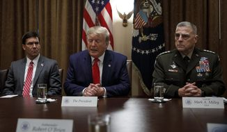 President Donald Trump, joined by from left, Defense Secretary Mark Esper, and Chairman of the Joint Chiefs of Staff Gen. Mark Milley, speaks to media during a briefing with senior military leaders in the Cabinet Room at the White House in Washington, Monday, Oct. 7, 2019. (AP Photo/Carolyn Kaster) **FILE**