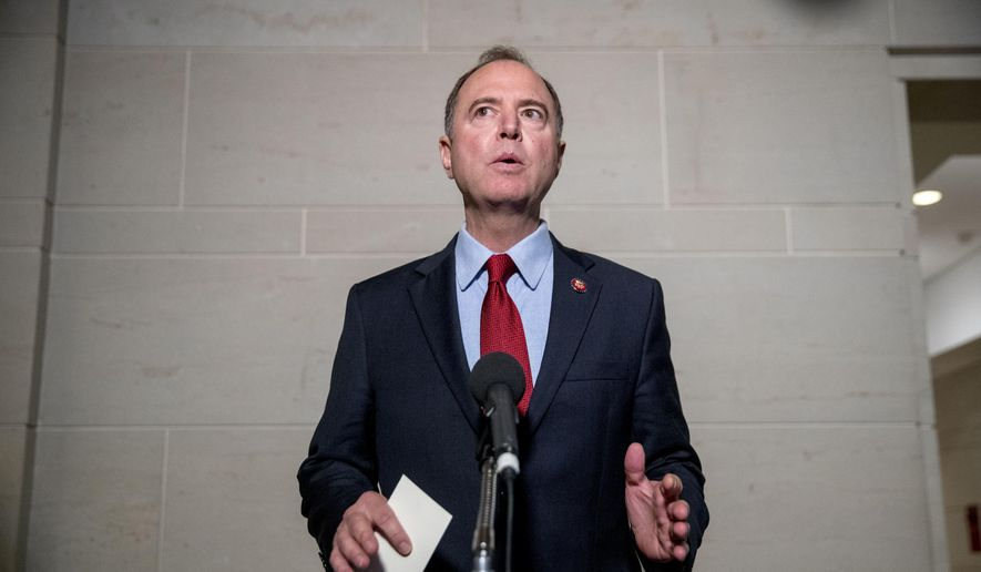 Rep. Adam Schiff, D-Calif., Chairman of the House Intelligence Committee, gives a statement to members of the media on Capitol Hill in Washington, Tuesday, Oct. 8, 2019.  The Trump administration barred Gordon Sondland, the U.S. European Union ambassador, from appearing Tuesday before a House panel conducting the impeachment inquiry of President Donald Trump.