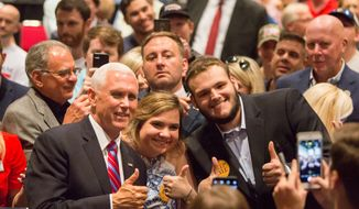 Vice President Mike Pence rallies with supporters during the Louisiana GOP Unity Rally in Kenner, Louisiana, on Saturday. According to polling, Republican participation in early voting last week in Louisiana is up 84% compared to the 2015 election. (Associated Press)