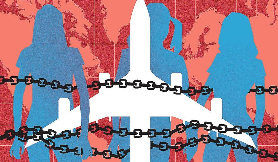 Illustration on human trafficking by Linas Garsys/The Washington Times