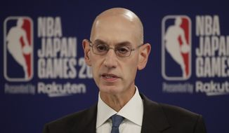 FILE - In this Oct. 8, 2019 file photo, NBA Commissioner Adam Silver speaks at a news conference before an NBA preseason basketball game between the Houston Rockets and the Toronto Raptors in Saitama, near Tokyo. When major corporations have angered Chinese authorities in recent years, the playbook calls for one thing: an apology.  The NBA, with billions at stake, has resisted that for now, though some experts wonder if such a move is inevitable. (AP Photo/Jae C. Hong)