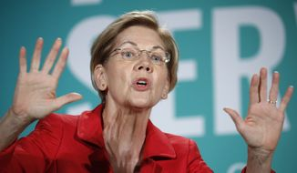 Democratic presidential candidate Sen. Elizabeth Warren, D-Mass., speaks during a candidate forum on labor issues in Las Vegas, Aug. 3, 2019. Warren is finding that her ascent in presidential primary polls means heightened scrutiny and criticism from party rivals and President Donald Trump. Her political allies and foes alike say Warren has appropriately sharp elbows and isnt afraid to throw them _ something shell likely increasingly have to do. (AP Photo/John Locher) ** FILE **