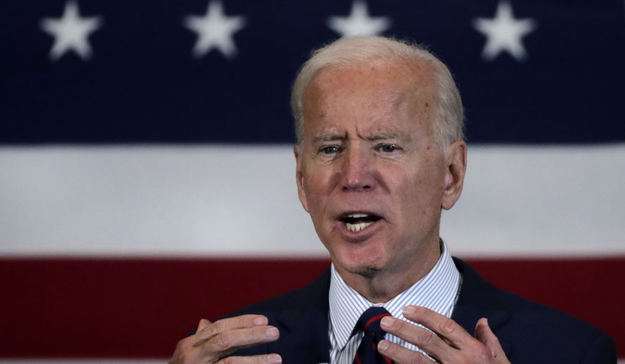 Democratic presidential candidate former Vice President Joe Biden gestures during a campaign stop in Manchester, N.H., Wednesday, Oct. 9, 2019. (AP Photo/Charles Krupa)
