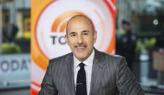 """This Nov. 8, 2017 photo released by NBC shows Matt Lauer on the set of the """"Today"""" show in New York. A woman who worked with NBC at the Sochi Olympics claims she was raped by former anchor Lauer at a hotel there, an encounter the former """"Today"""" show host says was consensual.  The woman made her claim in Ronan Farrow's book, """"Catch and Kill,"""" a copy of which was obtained by Variety. Lauer was fired by NBC in 2017 for what it called inappropriate sexual conduct. (Nathan Congleton/NBC via AP)"""