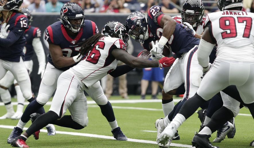 Houston Texans running back Carlos Hyde (23) rushes for a touchdown against the Atlanta Falcons during the second half of an NFL football game Sunday, Oct. 6, 2019, in Houston. (AP Photo/Michael Wyke)