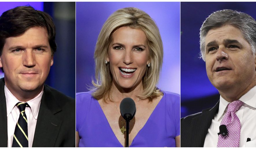 This combination photo shows, from left, Tucker Carlson, Laura Ingraham and Sean Hannity. Their shows currently draw the most viewers according to Nielsen Media Research, helping propel Fox News to tthe top of the ratings for consecutive 45 months. (AP Photo)
