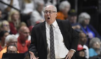 Washington Mystics head coach Mike Thibault gives instructions from the sideline during the first half in Game 4 of basketball's WNBA Finals against the Connecticut Sun, Tuesday, Oct. 8, 2019, in Uncasville, Conn. (AP Photo/Jessica Hill) ** FILE **