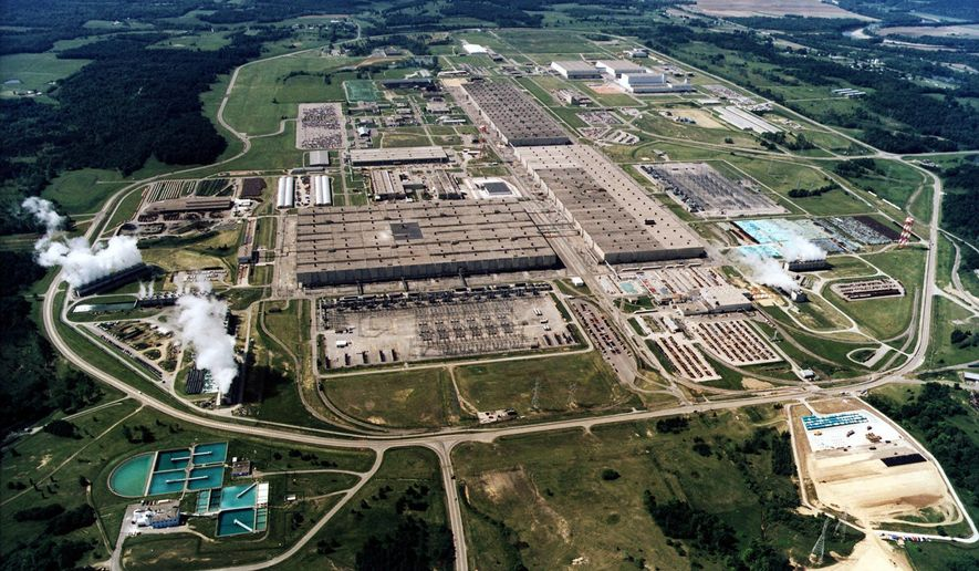 FILE - This undated file photo shows the large uranium plant in Piketon, Ohio. U.S. uranium mining companies and nuclear power plant operators are hoping for a bailout in the name of national security. President Donald Trump is scheduled to get recommendations Thursday, Oct. 10, 2019 from a federal task force studying ways to revive domestic uranium mining. The Nuclear Energy Institute representing uranium mine companies has asked the task force for tax breaks and other financial support. (AP Photo/U.S. Dept. of Energy VIA AP)