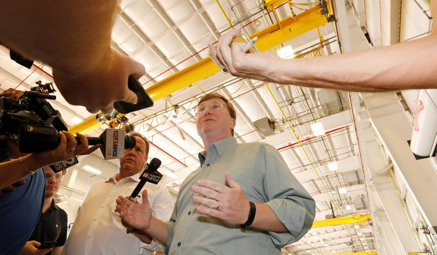 Republican Lt. Gov. Tate Reeves reported more than $2 million cash on hand and having spent $3.2 million this year on his campaign to become Mississippi's next governor. Mr. Reeves received President Trump's endorsement this week. (Associated Press photographs)