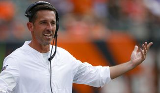 In this Sept. 15, 2019, file photo, San Francisco 49ers head coach Kyle Shanahan works the sideline during the second half an NFL football game against the Cincinnati Bengals in Cincinnati. Almost nothing has gone wrong for Shanahan and the unbeaten 49ers, who are in position to establish themselves as the favorite in the division that the Los Angeles Rams dominated since head coach Sean McVays arrival. (AP Photo/Gary Landers, )