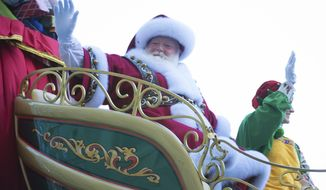 Santa Claus is seen at the 91st Macy's Thanksgiving Day Parade on Thursday, Nov. 23, 2017, in New York. (Photo by Scott Roth/Invision/AP)