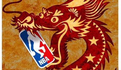 Illustration on China and the NBA by Alexander Hunter/The Washington Times