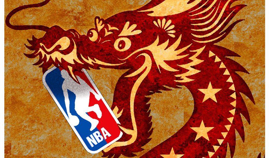 Illustration on China and the NBA by Alexander Hunter/The Washington Times