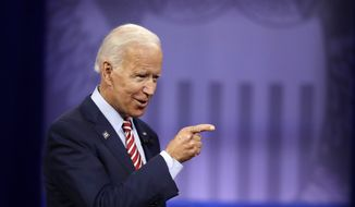 Democratic presidential candidate former Vice President Joe Biden speaks during the Power of our Pride Town Hall Thursday, Oct. 10, 2019, in Los Angeles. The LGBTQ-focused town hall featured nine 2020 Democratic presidential candidates. (AP Photo/Marcio Jose Sanchez)
