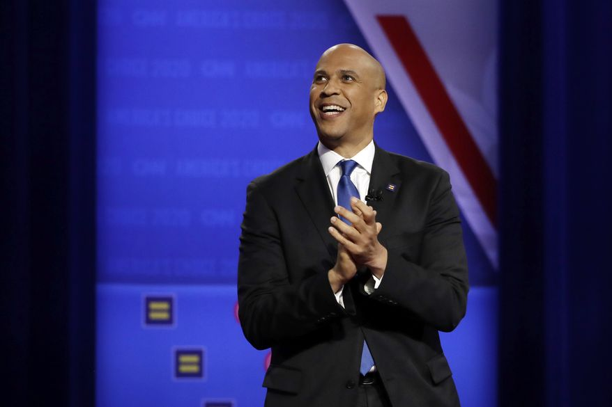Democratic presidential candidate Sen. Cory Booker, D-N.J., speaks during the Power of our Pride Town Hall Thursday, Oct. 10, 2019, in Los Angeles. The LGBTQ-focused town hall featured nine 2020 Democratic presidential candidates. (AP Photo/Marcio Jose Sanchez)