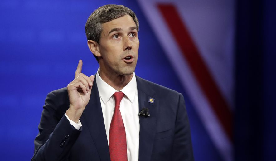Democratic presidential candidate former Texas Rep. Beto O'Rourke speaks during the Power of our Pride Town Hall Thursday, Oct. 10, 2019, in Los Angeles. The LGBTQ-focused town hall featured nine 2020 Democratic presidential candidates. (AP Photo/Marcio Jose Sanchez)