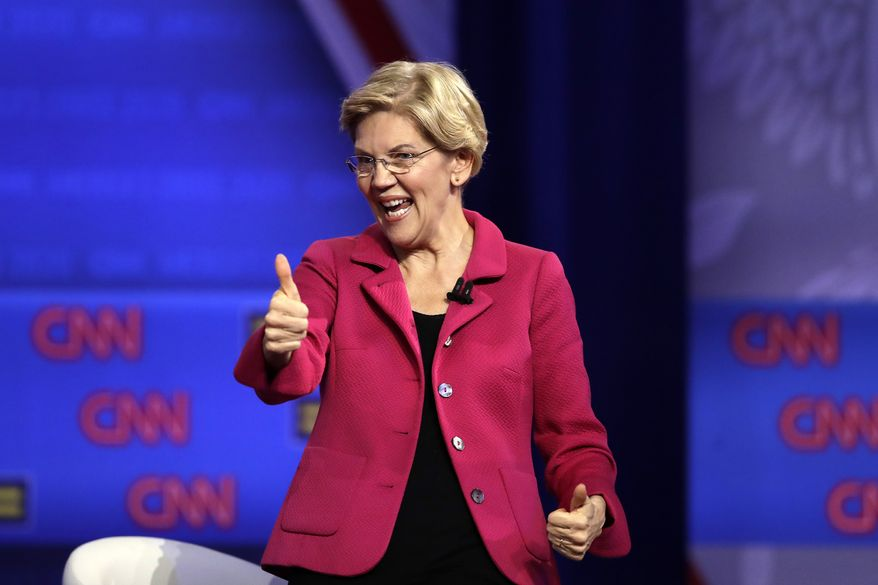 Democratic presidential candidate Sen. Elizabeth Warren, D-Mass., speaks during the Power of our Pride Town Hall Thursday, Oct. 10, 2019, in Los Angeles. The LGBTQ-focused town hall featured nine 2020 Democratic presidential candidates. (AP Photo/Marcio Jose Sanchez)