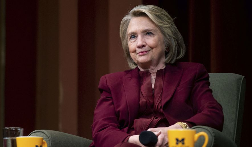 Hillary Clinton lectures on foreign policy at Rackham Auditorium, Thursday, Oct. 10, 2019 in Ann Arbor, Mich.(Jacob Hamilton/Ann Arbor News via AP)