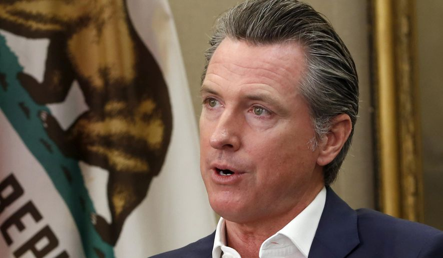 This Oct. 8, 2019, file photo shows California Gov. Gavin Newsom during an interview in his office at the Capitol in Sacramento. (AP Photo/Rich Pedroncelli, File)