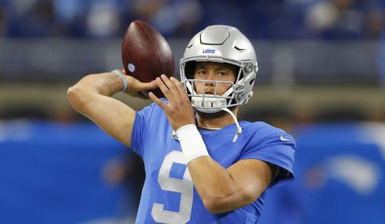 Detroit Lions quarterback Matthew Stafford throws during pregame of an NFL football game against the Kansas City Chiefs, Sunday, Sept. 29, 2019, in Detroit. (AP Photo/Paul Sancya) **FILE**