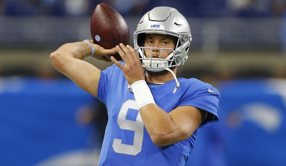 Detroit Lions quarterback Matthew Stafford throws during pregame of an NFL football game against the Kansas City Chiefs, Sunday, Sept. 29, 2019, in Detroit. (AP Photo/Paul Sancya)