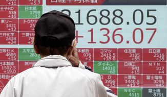 A man looks at an electronic stock board showing Japan's Nikkei 225 index at a securities firm in Tokyo Friday, Oct. 11, 2019. Asian stock markets followed Wall Street higher Friday on optimism about U.S.-Chinese talks on ending a tariff war.(AP Photo/Eugene Hoshiko)