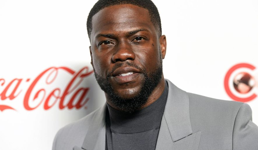 In this April 4, 2019 file photo, Kevin Hart poses for photos at the Big Screen Achievement Awards at Caesars Palace in Las Vegas. (Photo by Chris Pizzello/Invision/AP, File)