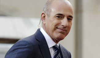 "FILE - In this April 21, 2016, file photo, Matt Lauer, co-host of the NBC ""Today"" television program, appears on set in Rockefeller Plaza, in New York. A new book by Ronan Farrow, a former NBC News employee who now works at The New Yorker, names the accuser whose story that Lauer raped her in a Sochi hotel room led to his dismissal. Lauer denied the charges in an angry and defiant letter released by his lawyer Wednesday, Oct. 9, 2019, and said that his public silence since his firing had been a mistake. (AP Photo/Richard Drew, File)"