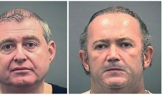 This combination of Wednesday, Oct. 9, 2019, photos provided by the Alexandria Sheriff's Office shows booking photos of Lev Parnas, left, and Igor Fruman. The associates of Rudy Giuliani, were arrested on a four-count indictment that includes charges of conspiracy, making false statements to the Federal Election Commission and falsification of records. The men had key roles in Giuliani's efforts to launch a Ukrainian corruption investigation against Biden and his son, Hunter. (Alexandria Sheriff's Office via AP)