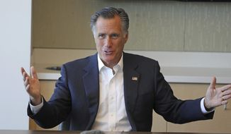 Sen. Mitt Romney, R-Utah, speaks during a roundtable discussion at Intermountain Primary Children's Hospital with officials and health experts to receive an update on anti-vaping efforts Thursday, Oct. 10, 2019, in Salt Lake City. In his first public appearance since President Donald Trump unleashed a storm of insults on Twitter, Mitt Romney stuck by his criticism of Trump's actions but said he'll likely win reelection. (AP Photo/Rick Bowmer)