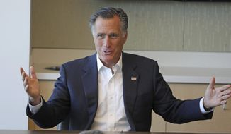 Sen. Mitt Romney, R-Utah, speaks during a roundtable discussion at Intermountain Primary Children's Hospital with officials and health experts to receive an update on anti-vaping efforts Thursday, Oct. 10, 2019, in Salt Lake City. In his first public appearance since President Donald Trump unleashed a storm of insults on Twitter, Mitt Romney stuck by his criticism of Trump's actions but said he'll likely win re-election. (AP Photo/Rick Bowmer)