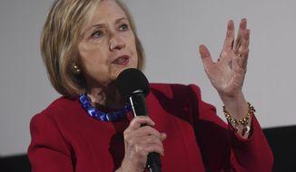 Former Secretary of State Hillary Clinton speaks during the Trailblazing Women of Park Ridge event in Park Ridge, Ill., Friday, Oct. 11, 2019. (Joe Lewnard/Daily Herald via AP)