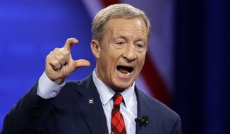 Democratic presidential candidate Tom Steyer speaks during the Power of our Pride Town Hall Thursday, Oct. 10, 2019, in Los Angeles. The LGBTQ-focused town hall featured nine 2020 Democratic presidential candidates. (AP Photo/Marcio Jose Sanchez)