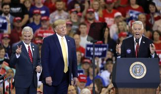 President Donald Trump introduces Louisiana Republican gubernatorial candidates Eddie Rispone, left, and Ralph Abraham, during his campaign rally on the eve of the Louisiana election, in Lake Charles, La., Friday, Oct. 11, 2019. The two are running against incumbent Democrat Gov. John Bel Edwards. (AP Photo/Gerald Herbert)