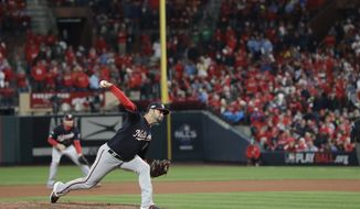 Washington Nationals starting pitcher Anibal Sanchez throws during the eighth inning of Game 1 of the baseball National League Championship Series against the St. Louis Cardinals Friday, Oct. 11, 2019, in St. Louis. (AP Photo/Mark Humphrey) ** FILE **