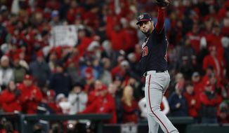 Washington Nationals starting pitcher Anibal Sanchez waves after being relieved after giving up his first hit during the eighth inning of Game 1 of the baseball National League Championship Series against the St. Louis Cardinals on Friday, Oct. 11, 2019, in St. Louis. (AP Photo/Jeff Roberson)