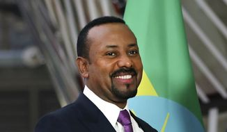 In this Thursday, Jan. 24, 2019, file photo, Ethiopian Prime Minister Abiy Ahmed meets at the European Council headquarters in Brussels. The 2019 Nobel Peace Prize was given to Ahmed on Friday, Oct. 11, 2019. (AP Photo/Francisco Seco, file)