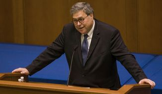 "Attorney General William Barr raised alarm over ""the force, fervor and comprehensiveness of the assault on religion we are experiencing today."" (Associated Press)"