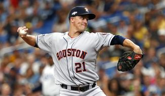Houston Astros starting pitcher Zack Greinke throws during the first inning of Game 3 of a baseball American League Division Series against the Tampa Bay Rays, Monday, Oct. 7, 2019, in St. Petersburg, Fla. (AP Photo/Scott Audette)