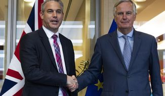 UK Brexit secretary Stephen Barclay, left, shakes hands with European Union chief Brexit negotiator Michel Barnier before their meeting at the European Commission headquarters in Brussels, Friday, Oct. 11, 2019. (AP Photo/Francisco Seco, Pool)