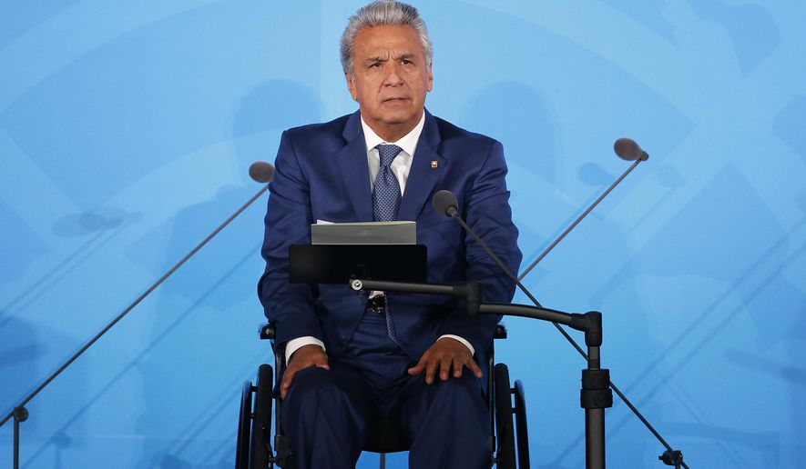 FILE - In this Sept. 23, 2019 file photo, Ecuador's President Lenin Moreno addresses the Climate Action Summit in the United Nations General Assembly, at U.N. headquarters. In announcing the fuel subsidy cut in early Oct. 2019, he said he would propose legislation for a special three-year tax on companies with annual revenue over $10 million, with the funds to go to education, health and safety. (AP Photo/Jason DeCrow, File)