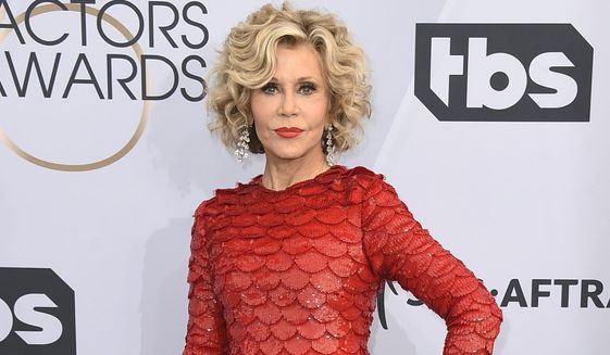 This Jan. 27, 2019, photo shows Jane Fonda at the 25th annual Screen Actors Guild Awards in Los Angeles. Fonda was arrested at the U.S. Capitol on Friday, Oct. 11, while peacefully protesting climate change.The actress and activist was handcuffed on the east side steps and escorted into a police vehicle. Video of the arrest circulated online. (Photo by Jordan Strauss/Invision/AP) **FILE**